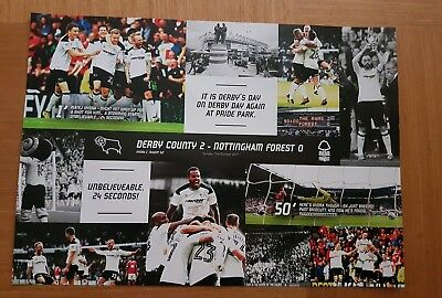 *derby County Glossy Poster 2017 Celebrating Victory Over Nottingham Forest~F/p*