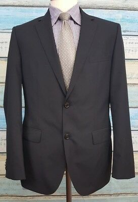 Hugo Boss Size 40R Wool 2 Button Single Breasted Black Mens Blazer