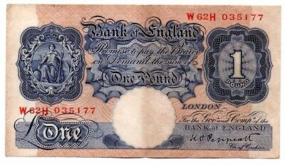 Blue One Pound (£1) English Banknote War Issue ~ Peppiatt 1940 ~ W62H 035177