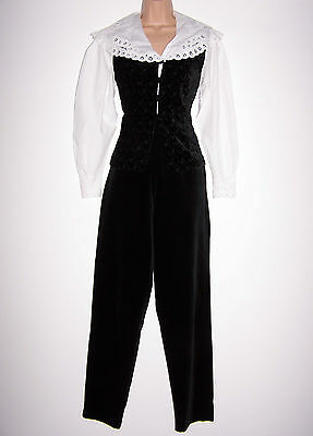 Bnwt Laura Ashley Vintage Black Velvet High-Waist Tapered Trousers, 12 Uk