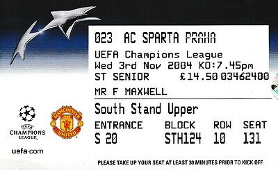 Manchester United V Sparta Prague 3 November 2004 Champions League Ticket