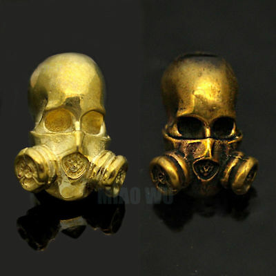 Unique Brass Skull Gas Mask Paracord Knife Pendant Parachute Cord Beads Mens DIY