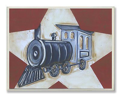 The Kids Room by Stupell Blue Train on White Star and Red Background Rectangle