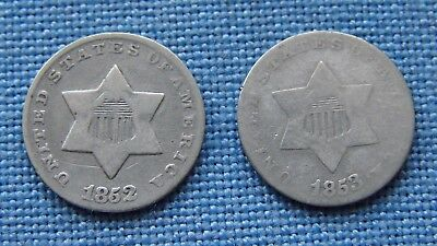 *two Nice Trimes 3 Cent Silver 1852 & 1853 - Cleaned - Estate Fresh*
