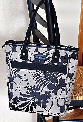 Tommy Bahama 15 Inch Carry All - BLACK & TAN Tote Shoulder Bag  LAPTOP SLEEVE