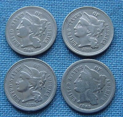 *very Nice Lot (4) 3 Cent Nickels 1865, 1866, 1868, 1873 - Estate Fresh*