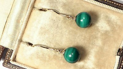 Stunning 9ct Gold Malachite Drop Ladies Earrings