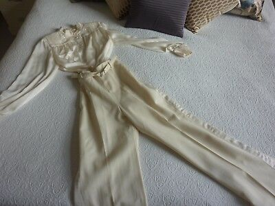 1980's Cream Satin Dynasty Joan Collins Trouser Suit - Sequins & Pearls TV/Film
