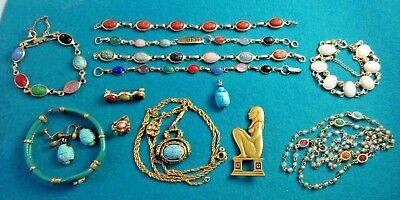 Vtg Egyptian Revival Bracelet Necklace Earring Brooch Lot Scarab White / Colors