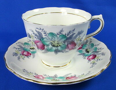 Colclough Bone China Teacup Cup & Saucer 6632 Teal Pink Gray Floral on White
