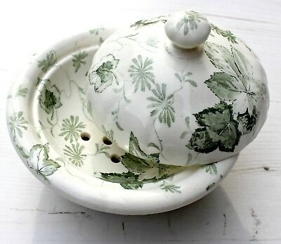 Mintons Yarmouth 3 Piece China Soap Dish Ivy Floral Decoration in Green & Cream