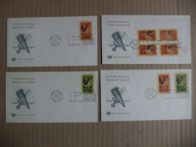 1962 4  ENVELOPPEs 1ER JOUR   NATIONS UNIES COURS INTERNATIONALE DE JUSTICE