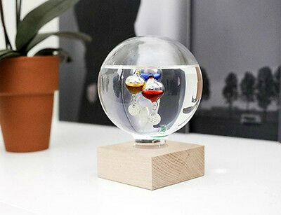 Kikkerland Galileo Thermometer New Temperature Celsius Fahrenheit With Wood Base