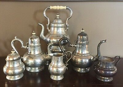 Lunt Sterling Silver 6 piece Tea service William and Mary with kettle 3916 g