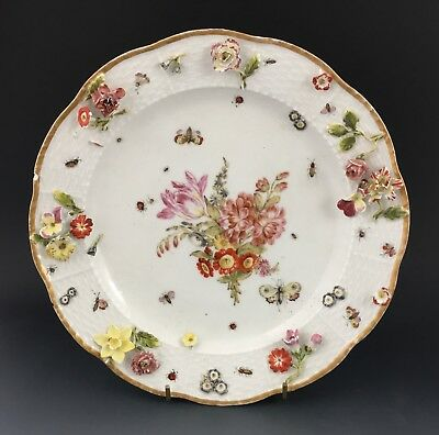 Meissen porcelain encrusted plate, c. 1760. Flowers & insects.