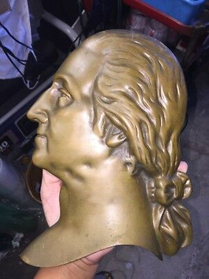 Cast Bronze Brass Plaque Of George Washington Bust Side Profile