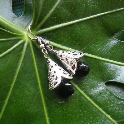 New Lovely Tibetan Silver black Crystal Earrings Sale! free delivery  b11