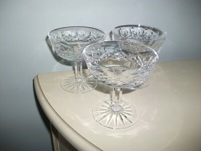 3 Waterford Crystal Cut Glass Lismore Champagne/Tall Sherbet Glasses