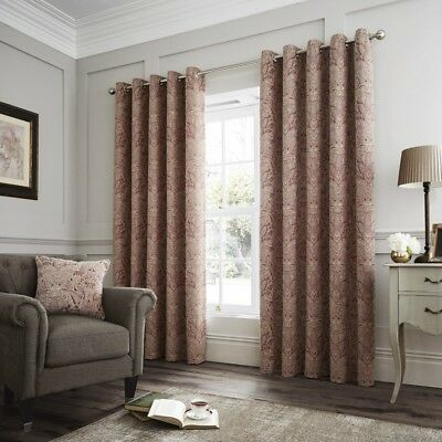 Luxury Curtina Whitcliffe Heavy Weight Lined Eyelet Curtains Multi Terracotta