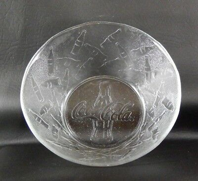 Coca-Cola Clear Glass Embossed Logo Dinnerware c.1997 Set of 4 Bowls 6-1/4""