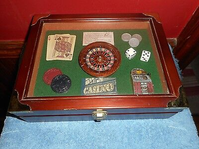Vintage Poker Chips Case Dice & Sealed Playing Cards Arister Casino Shadow Box