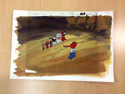 The Transformers G1 Production Cel W/ Background - Optimus and Autobots