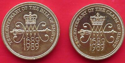 1989 Claim Of Right & Bill Of Rights Two Pound Coins / Both Circulated / Marked