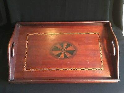 Edwardian Inlaid Wooden Serving Tray