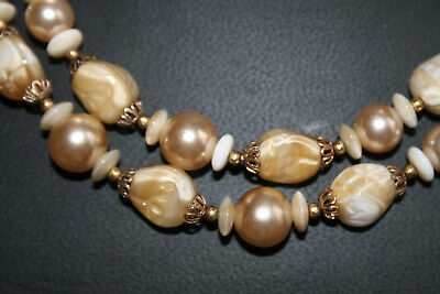 Vtg Crowne Trifari Art Glass Bead Necklace - carmel cream -see other Trifari