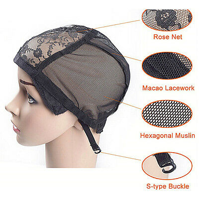 Weaving Wig Cap Adjustable Straps for Making Wigs Lace Mesh Stretchy Net Black A