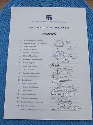 Sri Lanka 198 Tour To England Autograph Sheet