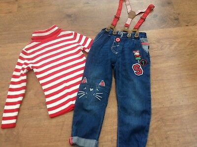 George Next Girls Small Bundle / Outfit 2-3Yrs Polo Jumper Trousers And Braces