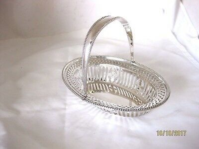 Antique Solid Silver  SMALL SWING HANDLE BASKET  Hallmarked CHESTER 1910