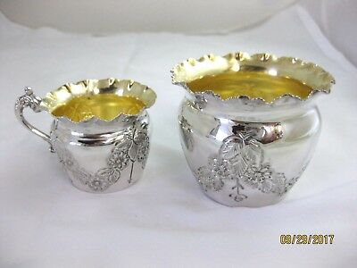 Antique Solid Silver MINIATURE SUGAR & CREAM   Hallmarked BIRMINGHAM 1914