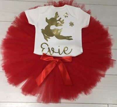 Girls Kids Personalised Christmas Outfit Tutu Skirt Top & Bow Set Red Party