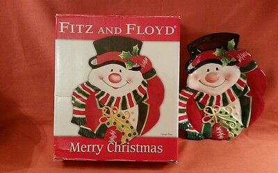 Fitz and Floyd Merry Christmas Holiday Snowman Canapé Serving Plate Platter NIB