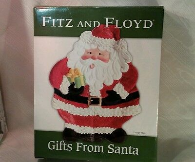Fitz & Floyd Ceramic Holiday Christmas Gifts from Santa Canapé Plate Platter