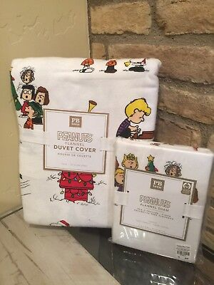 NEW PB Pottery Barn Teen Peanuts Christmas twin flannel duvet And Sham Snoopy