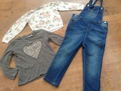 Mothercare  Next Girls Small Bundle / Outfit 18-24Mths Top Jumper Dungarees