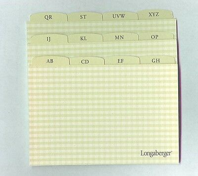12 Deluxe Longaberger Recipe 4 x 6 ABC Alphabet Heading Card Green Check 0 ship
