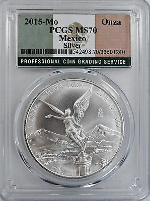 2015 Mexico 1oz Silver Onza Libertad PCGS MS70 Flag Label