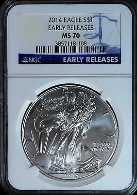 2014 Silver Eagle MS70 Early Release NGC