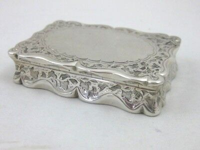 Antique Solid Silver  SNUFF BOX by FREDERICK MARSON  Hallmarked BIRMINGHAM 1867