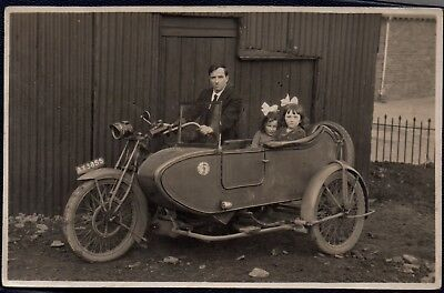 Vintage motorbike and side car - Photo postcard - Dated 1922 from Pentwynmain