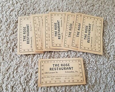 Lot of 12 Vintage Red Rose Restaurant Columbia PA Meal Tickets Punch Cards