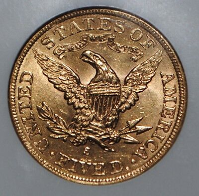 1901 S $5 Gold Liberty Head Half Eagle NGC MS 62 United States Coin