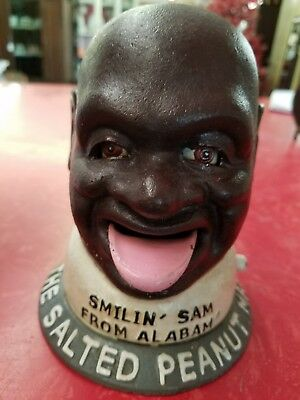 antique cast iron mechanical banks Smiling Sam from Alabama peanut man