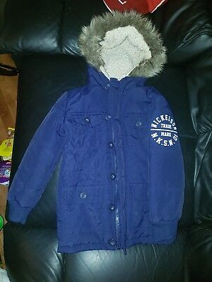 boys nickelson navy blue coat jacket with fluffy hood age 3-4 years