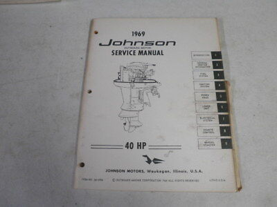 johnson factory outboard motor service manual 1969 40 hp 14 95 rh picclick com