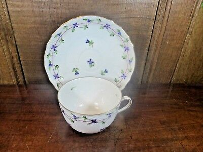 EXCELLENT Herend BLUE GARLAND hand painted CUP & SAUCER
